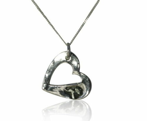 Stunning Solid Silver Cutout Heart Necklace With Iron Meteorite
