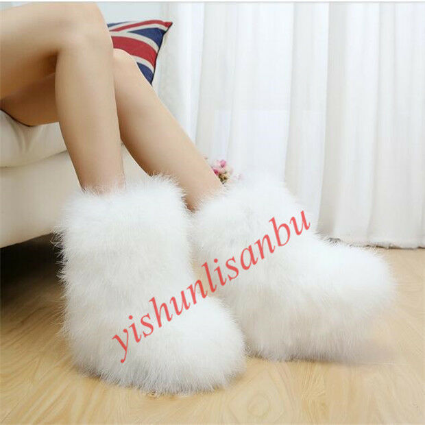 Women Real Genuine Ostrich Feather Furry Fuzzy Fur Warm Snow Boots Flats US 5-9