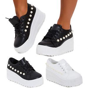 7424254f5d3cbd Caricamento dell'immagine in corso Scarpe-donna-sneakers-zeppa-stringate- alte-platform-sportive-