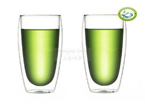 Clear Double Wall Glass Tea Coffee Cups Glasses 450ml158oz S10