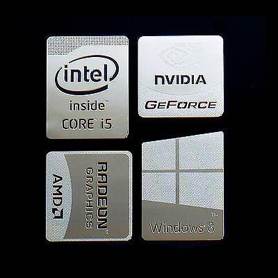 Haswell Intel Core i5 Logo Metal Decal Sticker Windows8 NVIDIA (Silver Type F)
