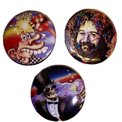 """Details about  /Lot 3 One Inch 1"""" Buttons Pins Badges GRATEFUL DEAD JERRY GARCIA Jam Psych 70's!"""