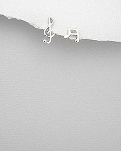 Solid Sterling Silver 12mm Music Note Treble Clef Stud Earrings