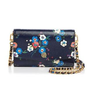 a085ceed0cd NWT AUTHENTIC TORY BURCH CROSS-BODY BAG CHAIN WALLET PANSY BOUQUET ...