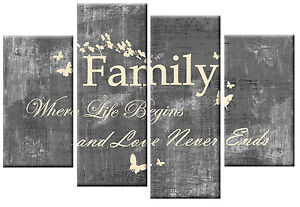LOVE HOME QUOTE Art Picture Red Cream Family Canvas Print Wall Split Multi