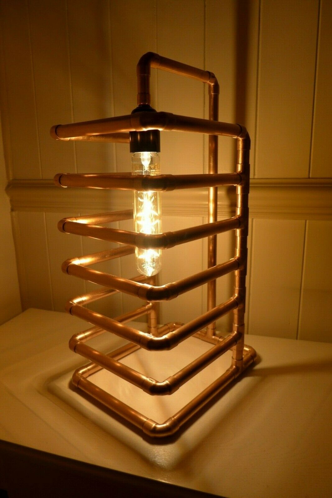 Copper table lamp design handmade home cottage barn farm pub loft art HQ P6