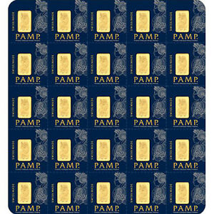 25 x 1 g Gram Gold Bar Sheet PAMP- Multigram - Lady Fortuna Design - PAMP Suisse