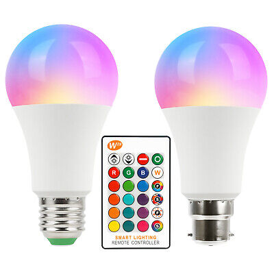 B22 10W RGB /& Wihte LED Dimmable Light Bulb Globe Colour Changing Lamp Remote
