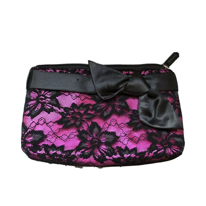 Sunny Small Pink And Black Elegant Cosmetic Bag For Purse In Short Supply