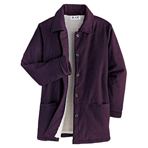 e7fe9002f Details about NWT Ladies BLAIR Corduroy Fleece Pile Lined JACKET Coat L  Blackberry Wine Purple