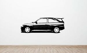 Ford Escort RS Cosworth wall art decal graphic sticker  (side) (retro, cossie)