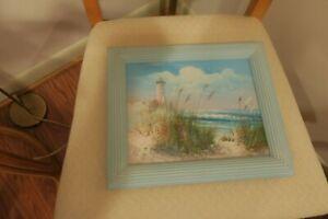 B-Thompson-Oil-on-Canvas-Framed-Painting-Lighthouse-Seascape-Seagull-Beach-Scene