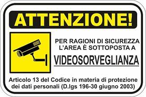KIT 2 ADESIVI ADESIVO CARTELLO 10X15 AREA  VIDEOSORVEGLIATA ATTENZIONE COD149