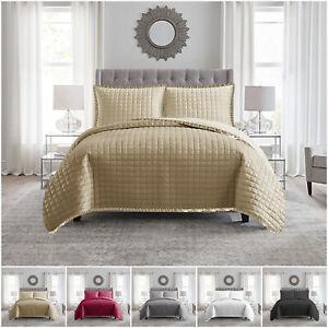 Acolchado-Colcha-Edredon-Cobertor-De-3-piezas-Juego-de-cama-con-almohadas-en-relieve