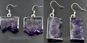 Natural Amethyst Geode Gemstone Healing Reiki Chakra Gold Silver Hook Earrings
