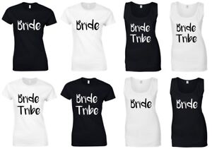 GOLD GLITTER BRIDE SQUAD Ladies T-Shirts Vests Hen Do Wedding Party Printed Tops