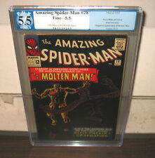 "1965 MARVEL ""AMAZING SPIDER-MAN #28"" PGX 5.5  FINE-   1st APP OF MOLTEN MAN"