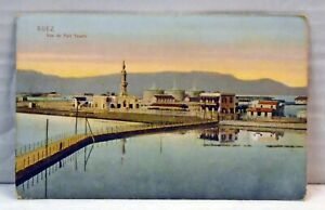 Suez-Port-Said-Egypt-VINTAGE-Postcard