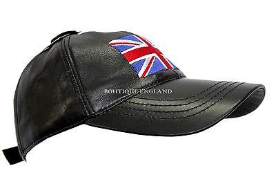 BASEBALL Black Union Jack Men/'s Women Real Soft LambSkin Leather Cap adjustable