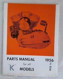 1952 To 1956 Harley Davidson K Models Motorcycle Parts Manual Ebay