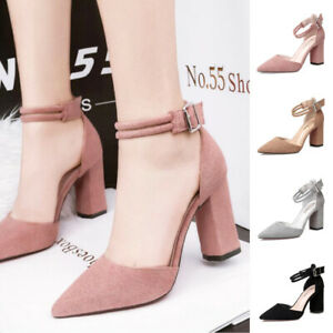 Ladies-Faux-Suede-Pointy-Toe-Office-Sandals-Women-Ankle-Strap-Buckle-Smart-Shoes