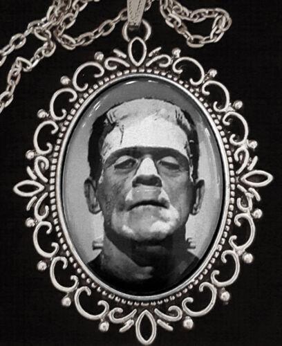 Frankenstein Antique Silver Pendant Necklace Goth Horror Boris Karloff 1931