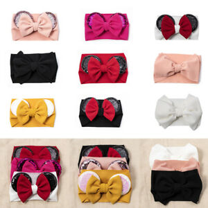 Baby-Girl-Sequin-Headband-Cartoon-Animal-Ears-Bow-Hairband-Knot-Turban-Headwrap
