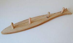 Wooden-Fish-Shape-Coat-Hook-Hanger-4-Pegs-Wood-Coat-Hanger
