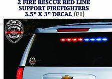 2 decals  - Support FIREFIGHTERS Thin RED Line Fire Dept DECAL Sticker Rescue