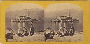 Orta-Isola-Saint-Jules-Italia-Foto-Stereo-Vintage-Albumina-Ca-1865