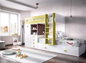 Details zu Hochbett Kinderzimmer Set extra Tiefe Auszüge Nischenregal  Stauraum 29 Farben