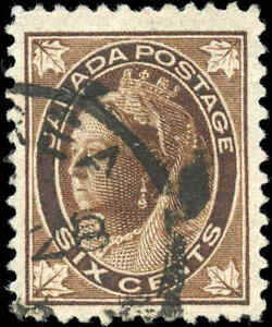 1897-Used-Canada-6c-F-VF-Scott-71-Queen-Victoria-Maple-Leaf-Stamp