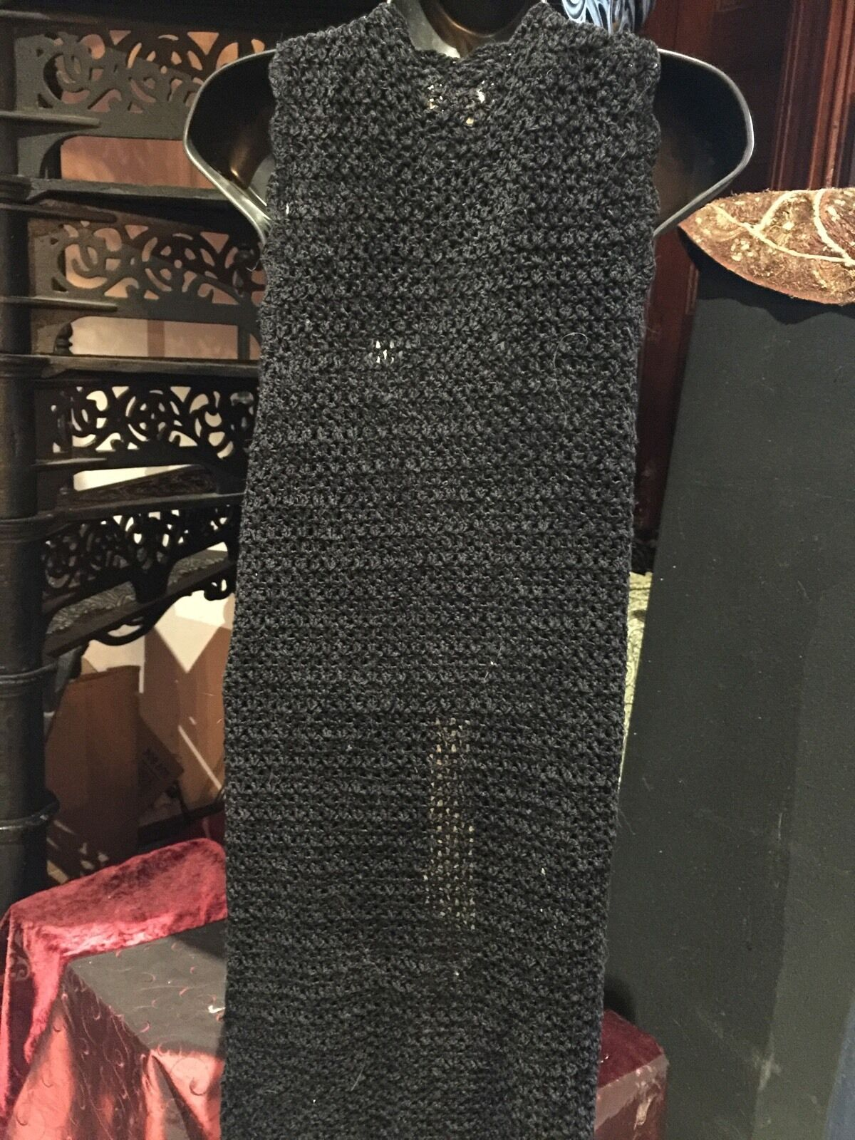 Vintage 1980's Black Chenille Crochet Lace Long S… - image 4