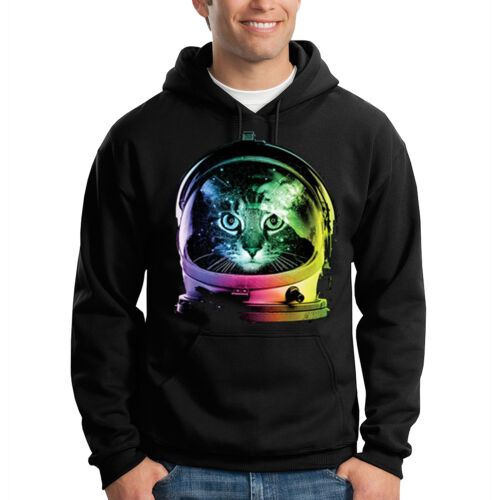 Space Cat Kitten Wearing Helmet Explorer Funny Hooded Sweatshirt Hoodie