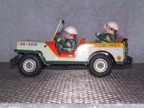 Alle Artikel in Elektrisches Spielzeug RARE VINTAGE MITSUHASHI MILITARY POLICE TIN FRICTION DRIVEN JEEP W/BOX!
