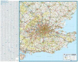 Map Of South East London.South East England 50 Miles Around London Road Map Gloss