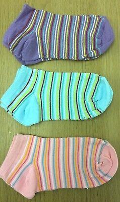 "Kids Girls Boys Stripe 3 Pack Ankle Age 2 3 4 5 PINK BLUE GREEN /""Cheeky Socks/"""