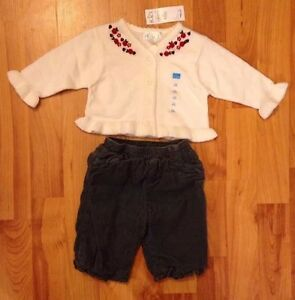 The Children's Place Girls Sz. 0-3 Months Cardigan NEW & Lined Corduroy  Pants