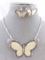 Butterfly Necklace Earrings Set Silver Shell Rhinestone Fashion Jewelry