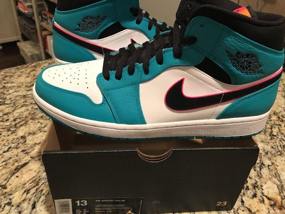 New Nike Air Jordan 1 3 4 Mid South Beach Turbo Green Hyper Pink 852542 306 13