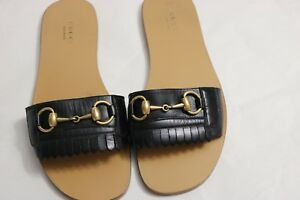 a9c2edd3f B-422 Women's Gucci Fringe leather Horsebit slide Sandals Sz EU 37 1 ...