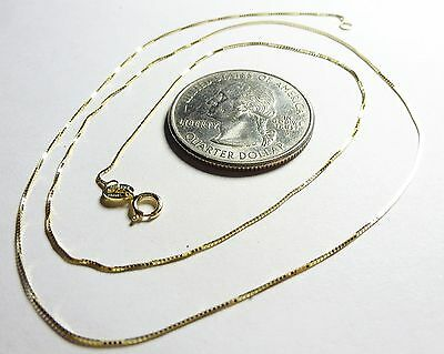 10Kt Real Pure Solid White Gold 18 inch .45MM BOX Chain .....W//Gift Box