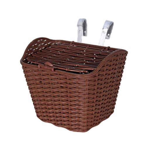 Bike Bicycle Front Storage Basket Imitation Rattan For Shopping Camping Pets WCV