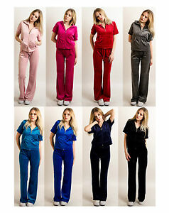 c3731224cc Details about Lady Velour Short Sleeves Tracksuits Hood & Jogging Pants  Holiday yoga relax