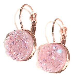 Image Is Loading Pink Angel Aura Quartz Rose Gold Drop Earrings