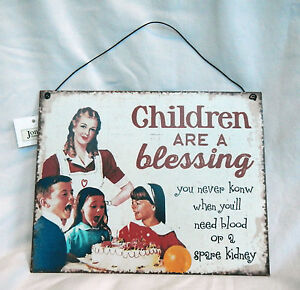 Retro-Style-Enamel-Sign-Plaque-Children-are-a-Blessing-BNWT