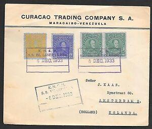Venezuela covers 1933 Shipcover KNSM SS EL LIBERTADOR+ SS VENEZUELA