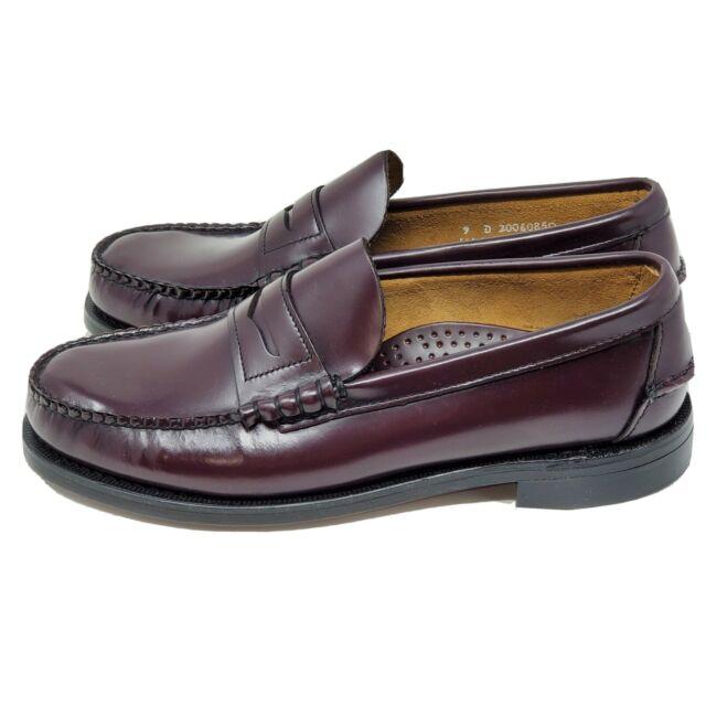 Sebago Mens Burgundy Leather Sole Penny Loafer Handsewn ...