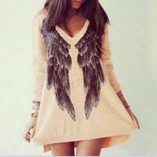 maniche di angelo lunghe stampa di con maniche lunghe moda nuova donna di ali Felpe con a con cappuccio vOzzRt