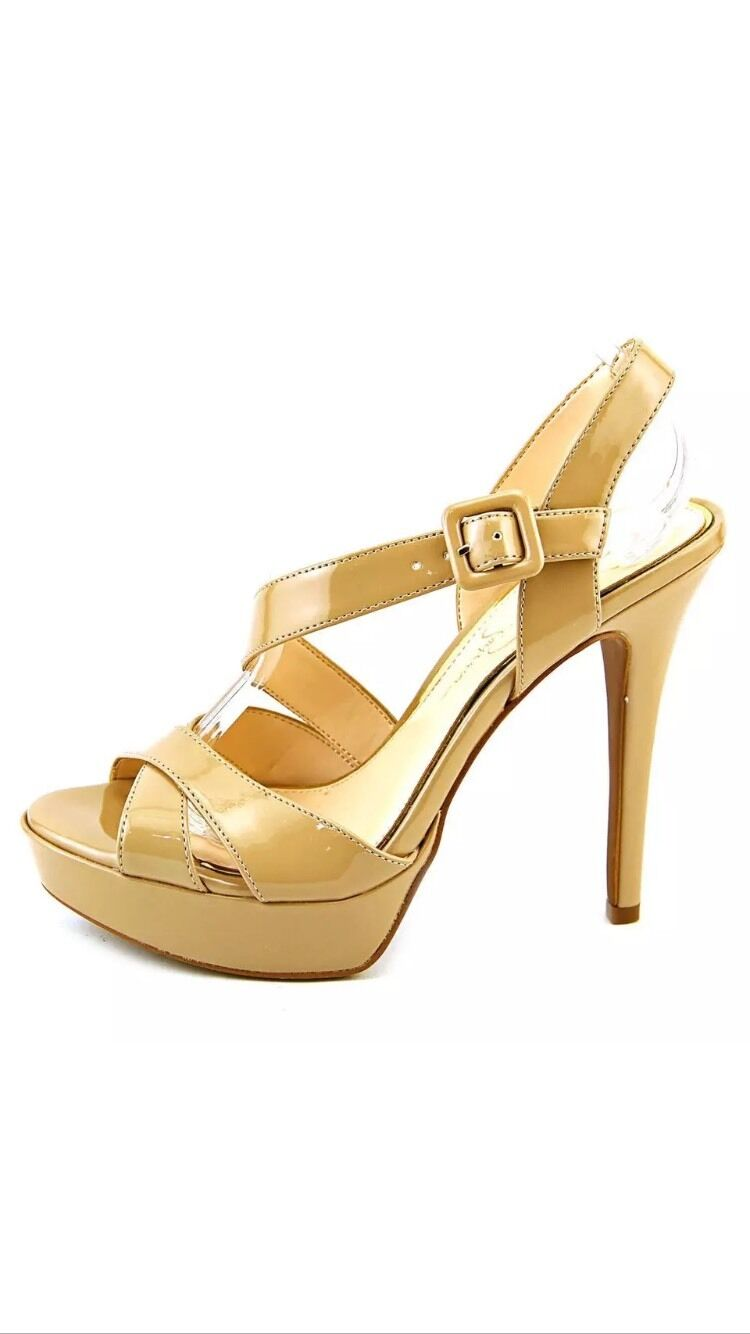 Jessica Simpson Beverlie Open Toe Toe Toe Sandals Stiletto Nude Platform Strappy 9.5 New fd0a31